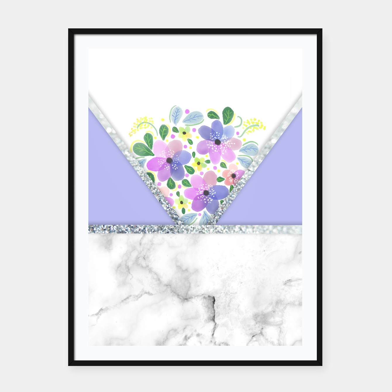 Image of Minimal Purple Silver Floral Marble Cartel con marco - Live Heroes