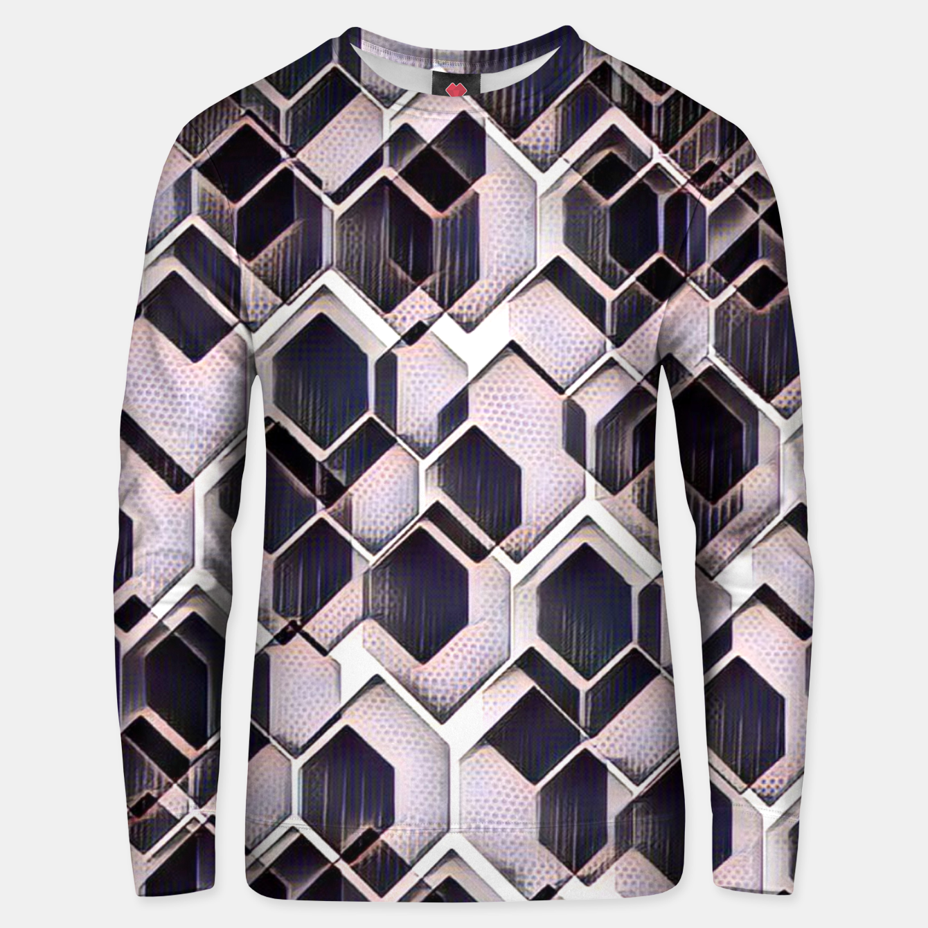 Zdjęcie blue grey purple black and white abstract geometric pattern Unisex sweater - Live Heroes