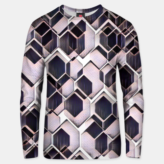 Miniatur blue grey purple black and white abstract geometric pattern Unisex sweater, Live Heroes