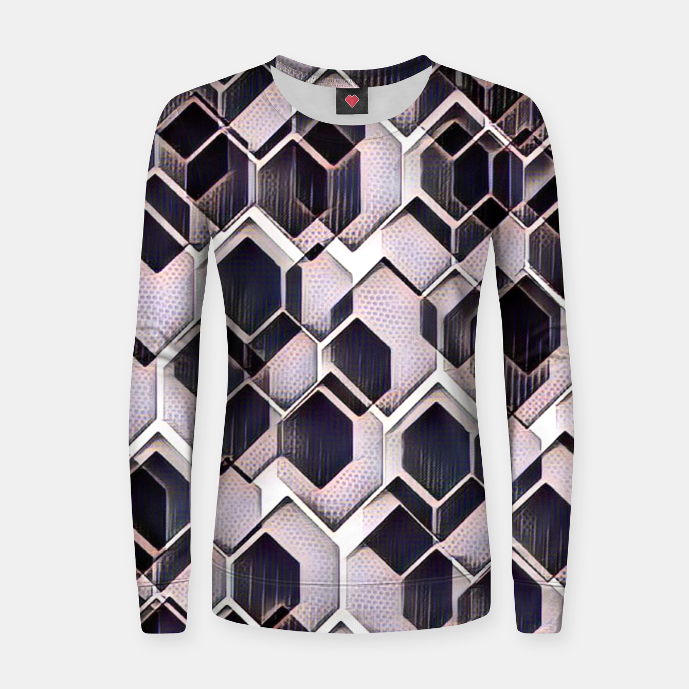 Foto blue grey purple black and white abstract geometric pattern Women sweater - Live Heroes