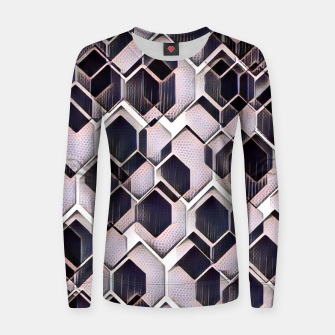 Miniatur blue grey purple black and white abstract geometric pattern Women sweater, Live Heroes