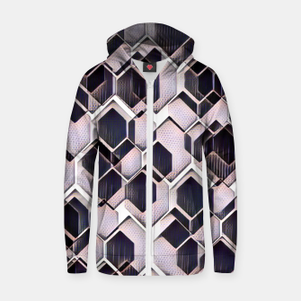 Miniatur blue grey purple black and white abstract geometric pattern Zip up hoodie, Live Heroes
