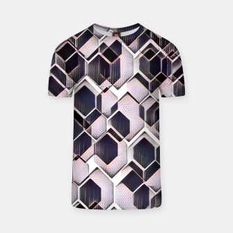 Miniatur blue grey purple black and white abstract geometric pattern T-shirt, Live Heroes