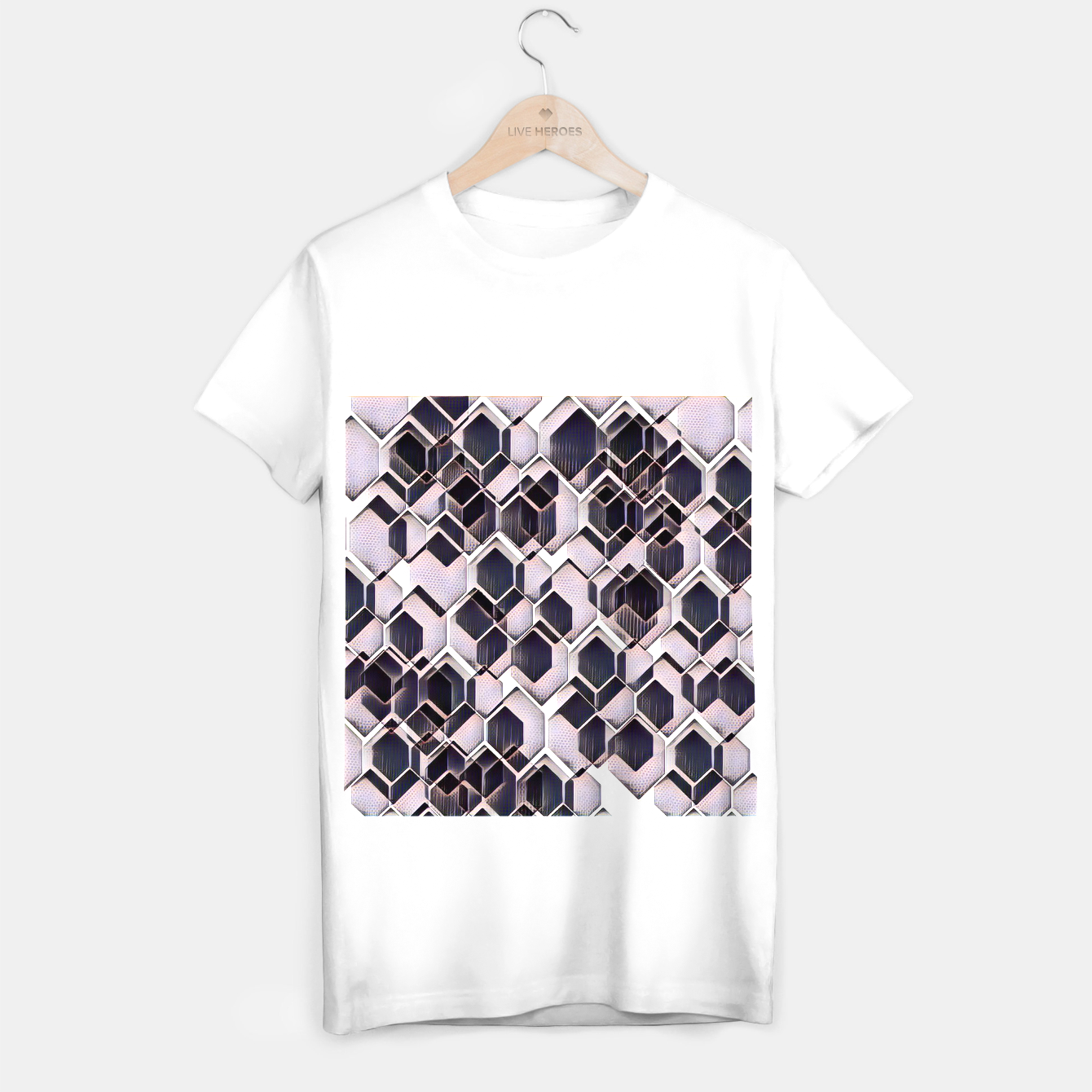 Foto blue grey purple black and white abstract geometric pattern T-shirt regular - Live Heroes