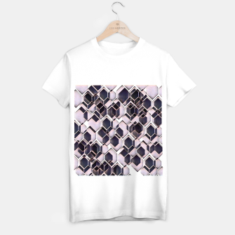 blue grey purple black and white abstract geometric pattern T-shirt regular obraz miniatury