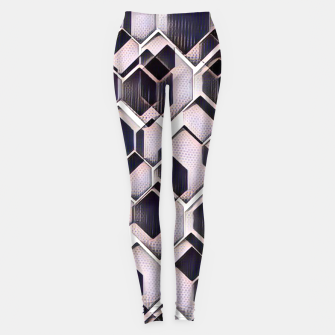 blue grey purple black and white abstract geometric pattern Leggings thumbnail image