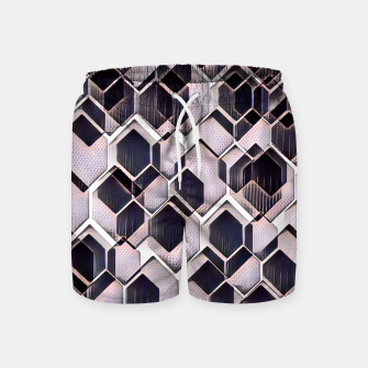 Miniatur blue grey purple black and white abstract geometric pattern Swim Shorts, Live Heroes