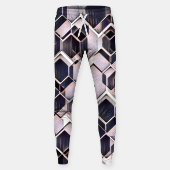 blue grey purple black and white abstract geometric pattern Sweatpants obraz miniatury