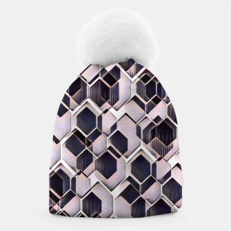 blue grey purple black and white abstract geometric pattern Beanie Bild der Miniatur