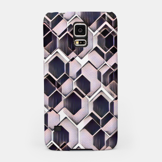 Miniatur blue grey purple black and white abstract geometric pattern Samsung Case, Live Heroes