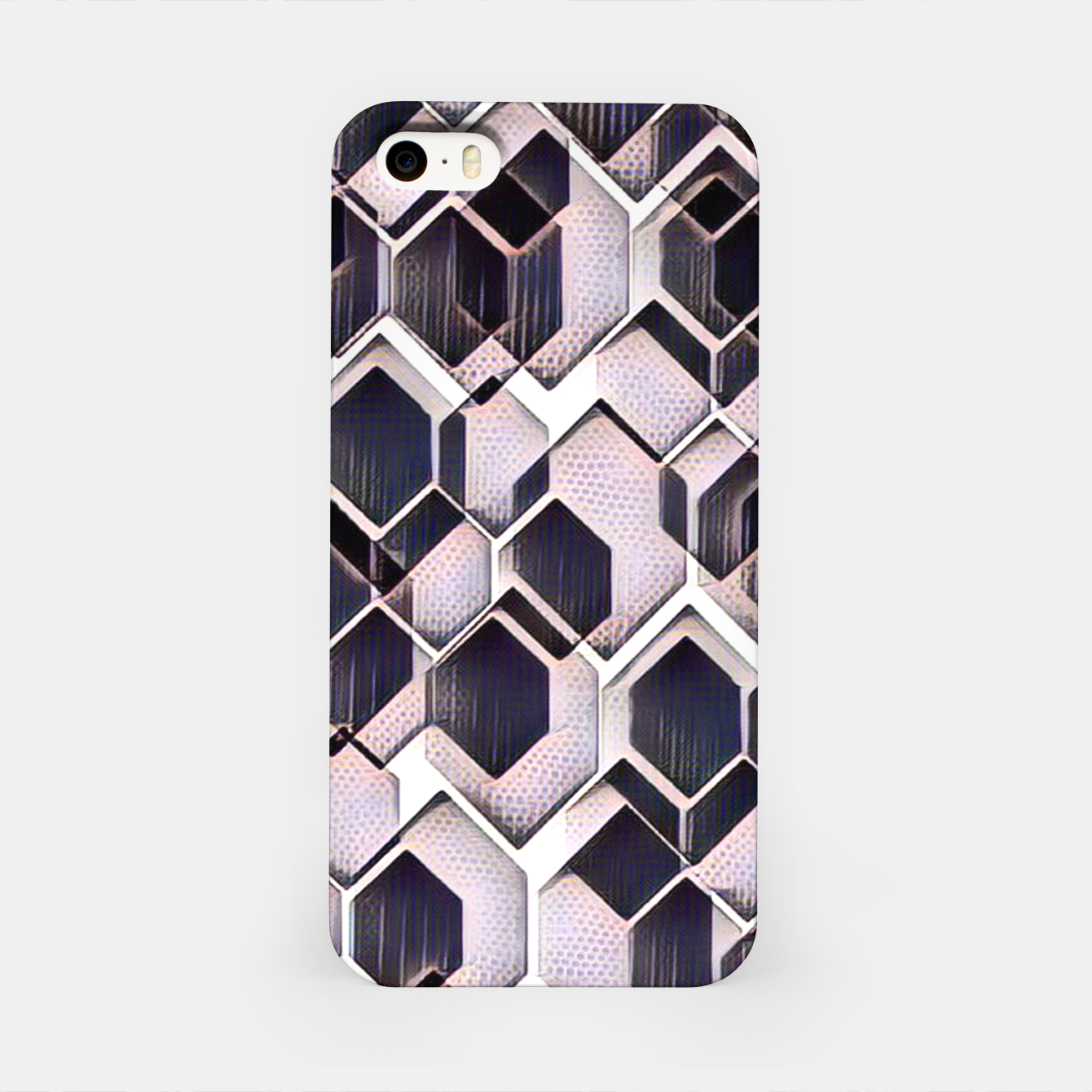 Foto blue grey purple black and white abstract geometric pattern iPhone Case - Live Heroes