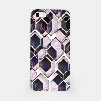 blue grey purple black and white abstract geometric pattern iPhone Case obraz miniatury