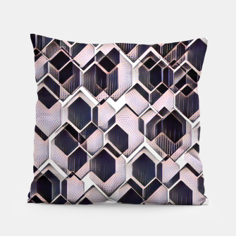 Miniatur blue grey purple black and white abstract geometric pattern Pillow, Live Heroes