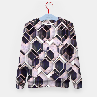 Miniatur blue grey purple black and white abstract geometric pattern Kid's sweater, Live Heroes