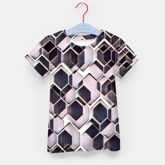 blue grey purple black and white abstract geometric pattern Kid's t-shirt Bild der Miniatur