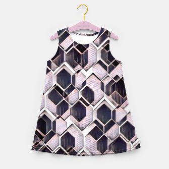 Miniatur blue grey purple black and white abstract geometric pattern Girl's summer dress, Live Heroes
