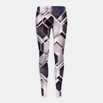 blue grey purple black and white abstract geometric pattern Girl's leggings Bild der Miniatur