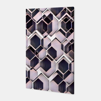 Miniatur blue grey purple black and white abstract geometric pattern Canvas, Live Heroes