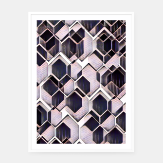 Miniatur blue grey purple black and white abstract geometric pattern Framed poster, Live Heroes