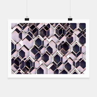 blue grey purple black and white abstract geometric pattern Poster Bild der Miniatur