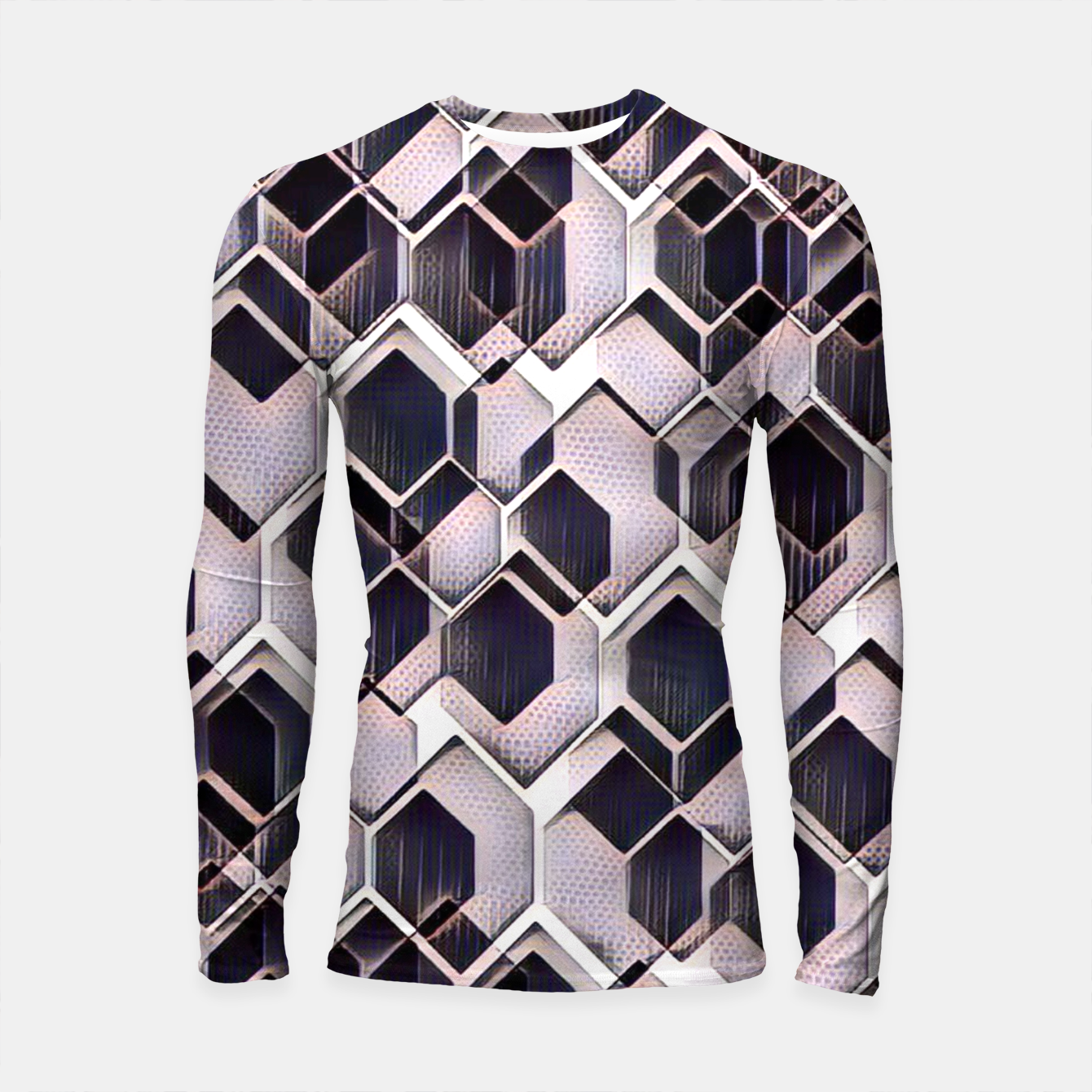 Foto blue grey purple black and white abstract geometric pattern Longsleeve rashguard  - Live Heroes