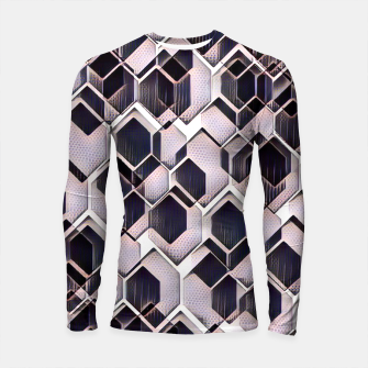 Miniatur blue grey purple black and white abstract geometric pattern Longsleeve rashguard , Live Heroes