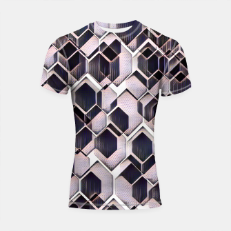 Thumbnail image of blue grey purple black and white abstract geometric pattern Shortsleeve rashguard, Live Heroes