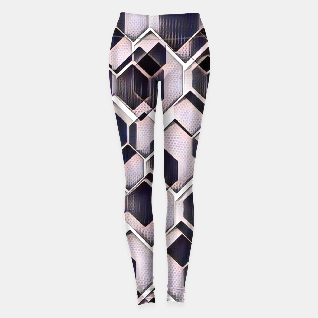 Image of blue grey purple black and white abstract geometric pattern Leggings - Live Heroes
