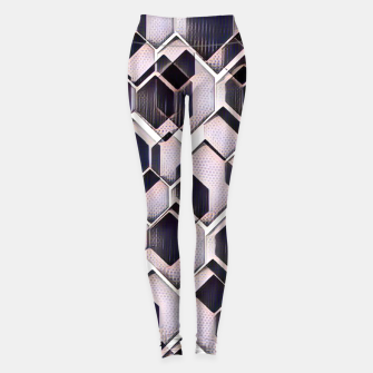 Miniatur blue grey purple black and white abstract geometric pattern Leggings, Live Heroes