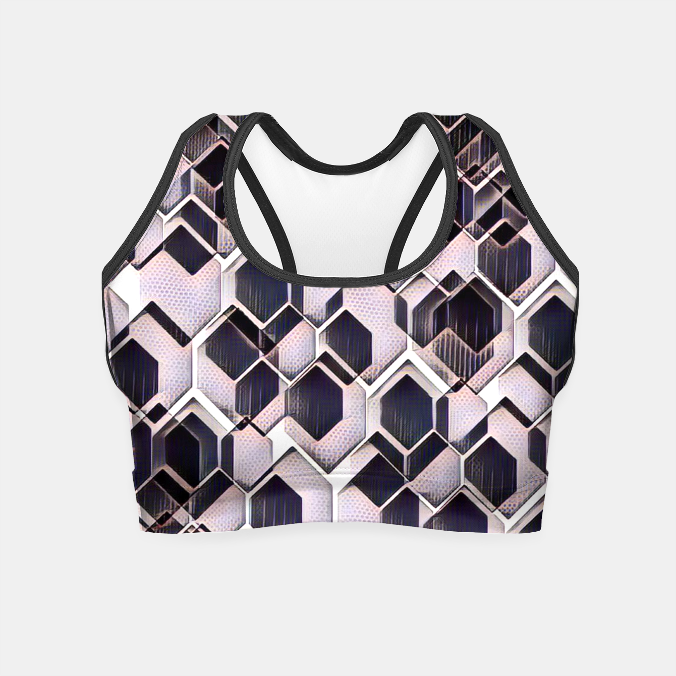 Foto blue grey purple black and white abstract geometric pattern Crop Top - Live Heroes