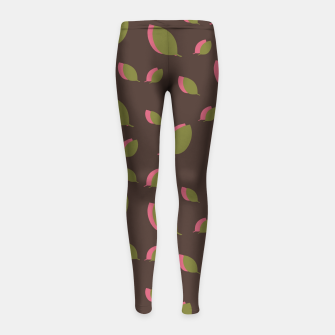 Thumbnail image of Autumn leaves green brown Girl's leggings, Live Heroes