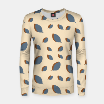 Thumbnail image of Blue leaves pattern on vanilla Women sweater, Live Heroes