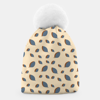 Thumbnail image of Blue leaves pattern on vanilla Beanie, Live Heroes