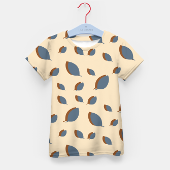 Thumbnail image of Blue leaves pattern on vanilla Kid's t-shirt, Live Heroes