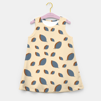 Thumbnail image of Blue leaves pattern on vanilla Girl's summer dress, Live Heroes