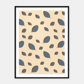Blue leaves pattern on vanilla Framed poster miniature