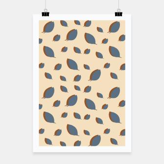 Thumbnail image of Blue leaves pattern on vanilla Poster, Live Heroes