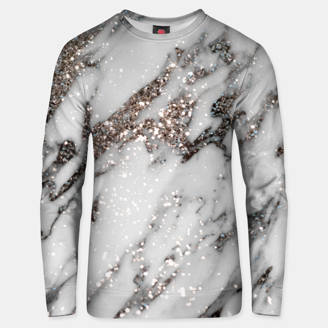 Image of Classic White Marble Silver Glitter Glam #1 (Faux Glitter) #marble #decor #art  Unisex sweatshirt - Live Heroes