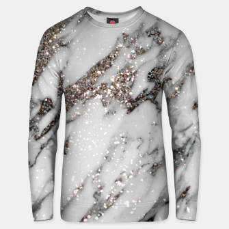Classic White Marble Silver Glitter Glam #1 (Faux Glitter) #marble #decor #art  Unisex sweatshirt thumbnail image
