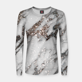 Classic White Marble Silver Glitter Glam #1 (Faux Glitter) #marble #decor #art  Frauen sweatshirt thumbnail image