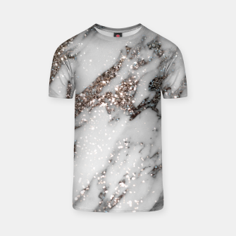 Classic White Marble Silver Glitter Glam #1 (Faux Glitter) #marble #decor #art  T-Shirt thumbnail image