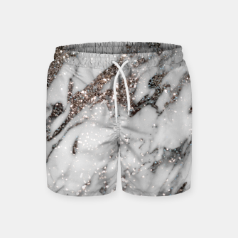 Classic White Marble Silver Glitter Glam #1 (Faux Glitter) #marble #decor #art  Badeshorts thumbnail image