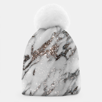 Classic White Marble Silver Glitter Glam #1 (Faux Glitter) #marble #decor #art  Mütze thumbnail image