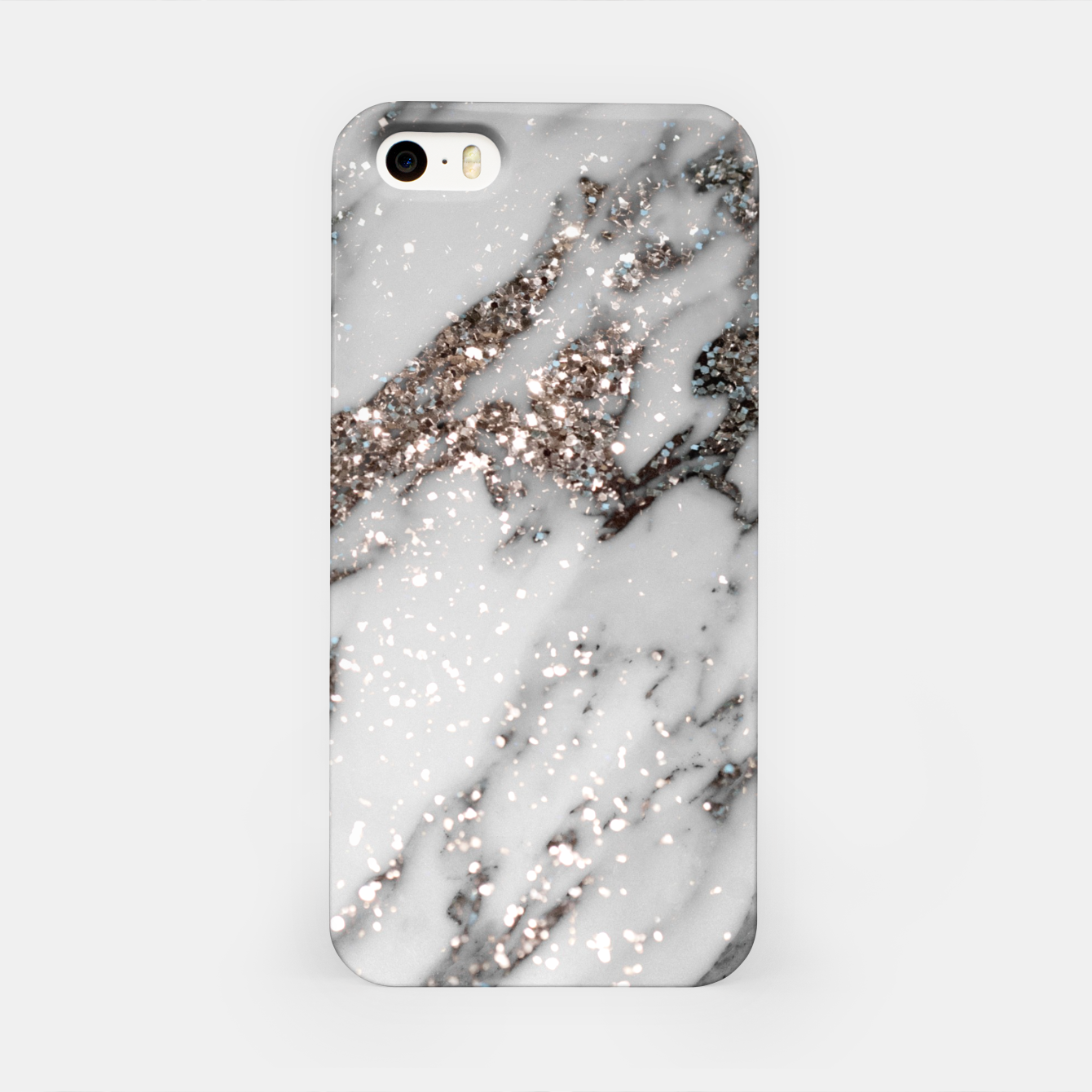 Zdjęcie Classic White Marble Silver Glitter Glam #1 (Faux Glitter) #marble #decor #art  iPhone-Hülle - Live Heroes