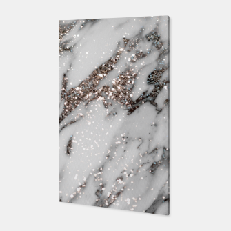 Classic White Marble Silver Glitter Glam #1 (Faux Glitter) #marble #decor #art  Canvas thumbnail image