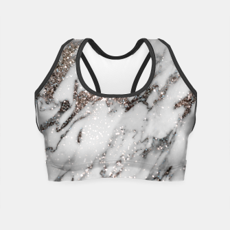 Classic White Marble Silver Glitter Glam #1 (Faux Glitter) #marble #decor #art  Crop Top thumbnail image
