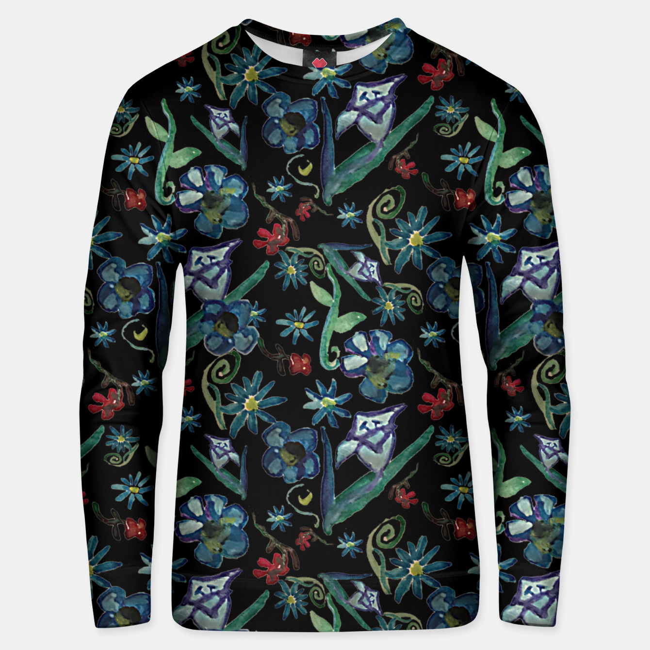 Image of Watercolor Flowers On Black Unisex sweater - Live Heroes