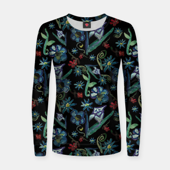 Imagen en miniatura de Watercolor Flowers On Black Women sweater, Live Heroes