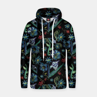 Imagen en miniatura de Watercolor Flowers On Black Hoodie, Live Heroes