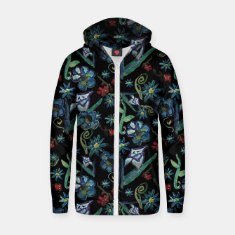 Imagen en miniatura de Watercolor Flowers On Black Zip up hoodie, Live Heroes